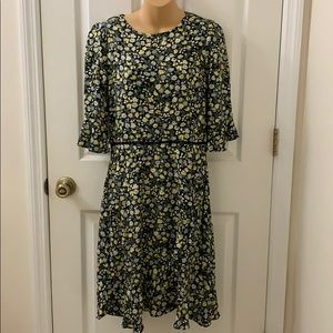NWT Oasis Black and yellow Flower Patterned Dress